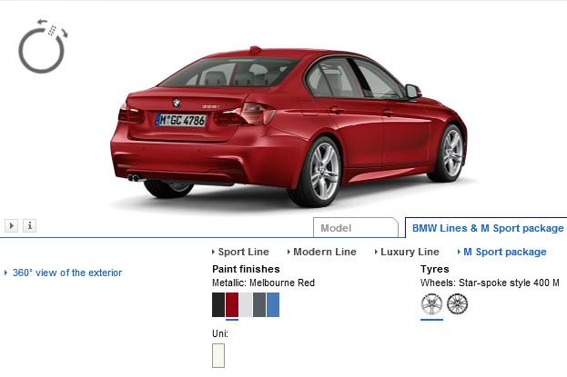 2012 BMW 3 Series online configurator