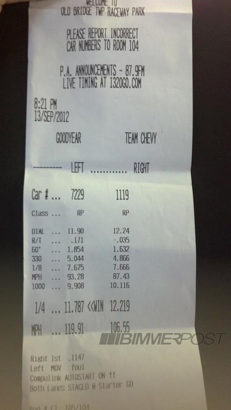 F10 BMW M5 Quarter mile result
