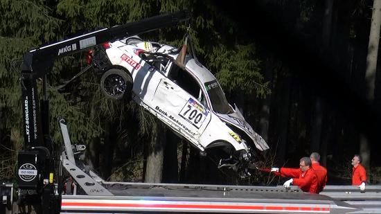 BMW M235i Racing crashed