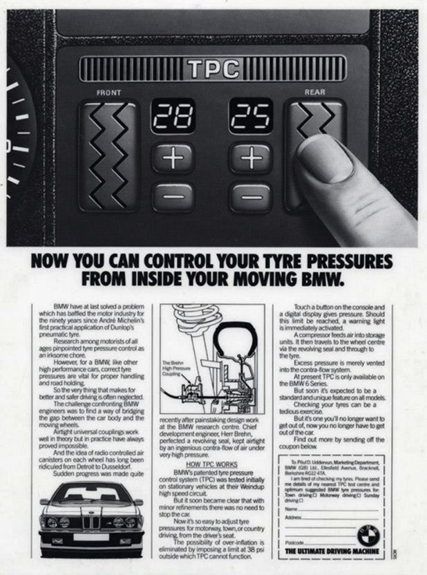 Dashboard Tire Pressure Control