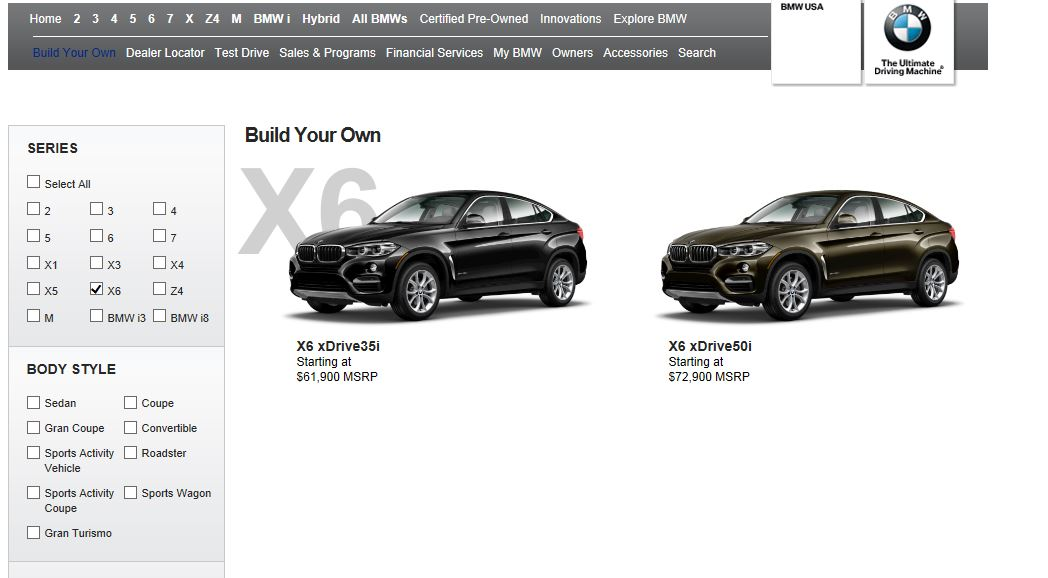2015 BMW X6 Configurator Launched Online