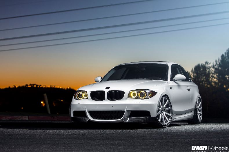 BMW E82 135i Alpine White on VMR Wheels