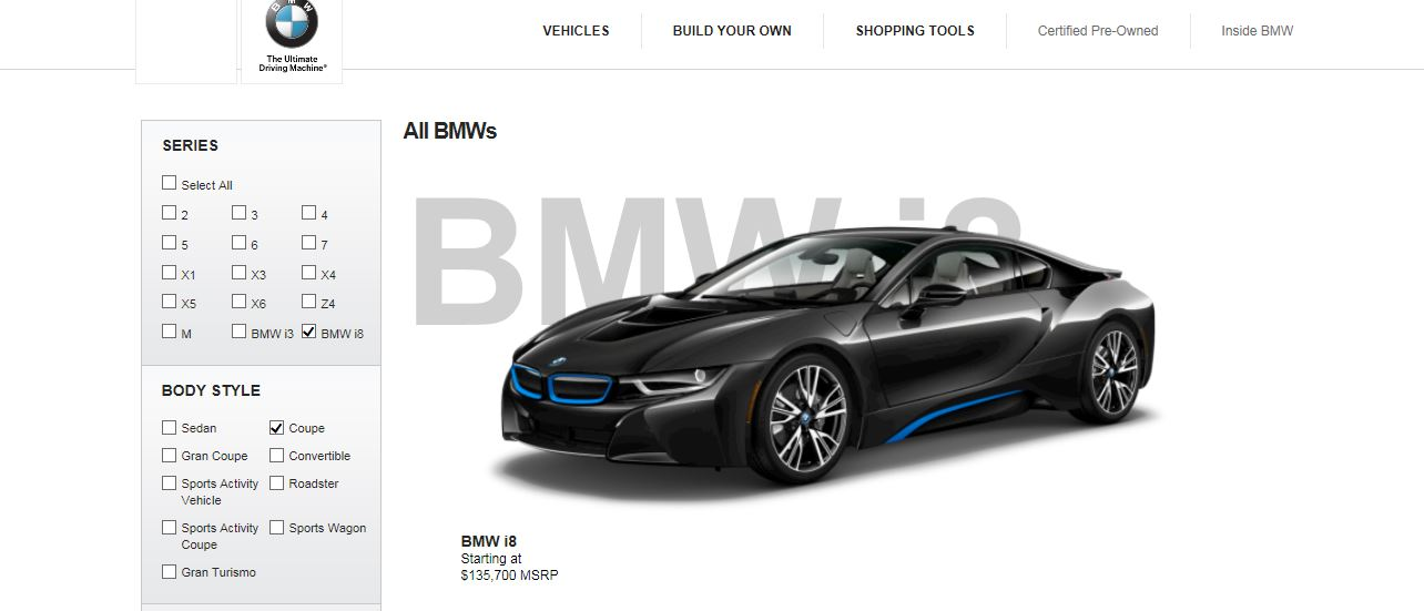 BMW i8 Online Configurator