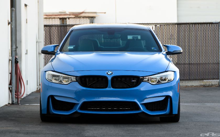 BMW M4 Yas Marina Blue with Akrapovic Exhaust and KW Height HAS by EAS