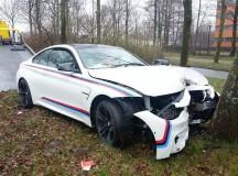 Alpine White BMW M4 Crashes into Trees