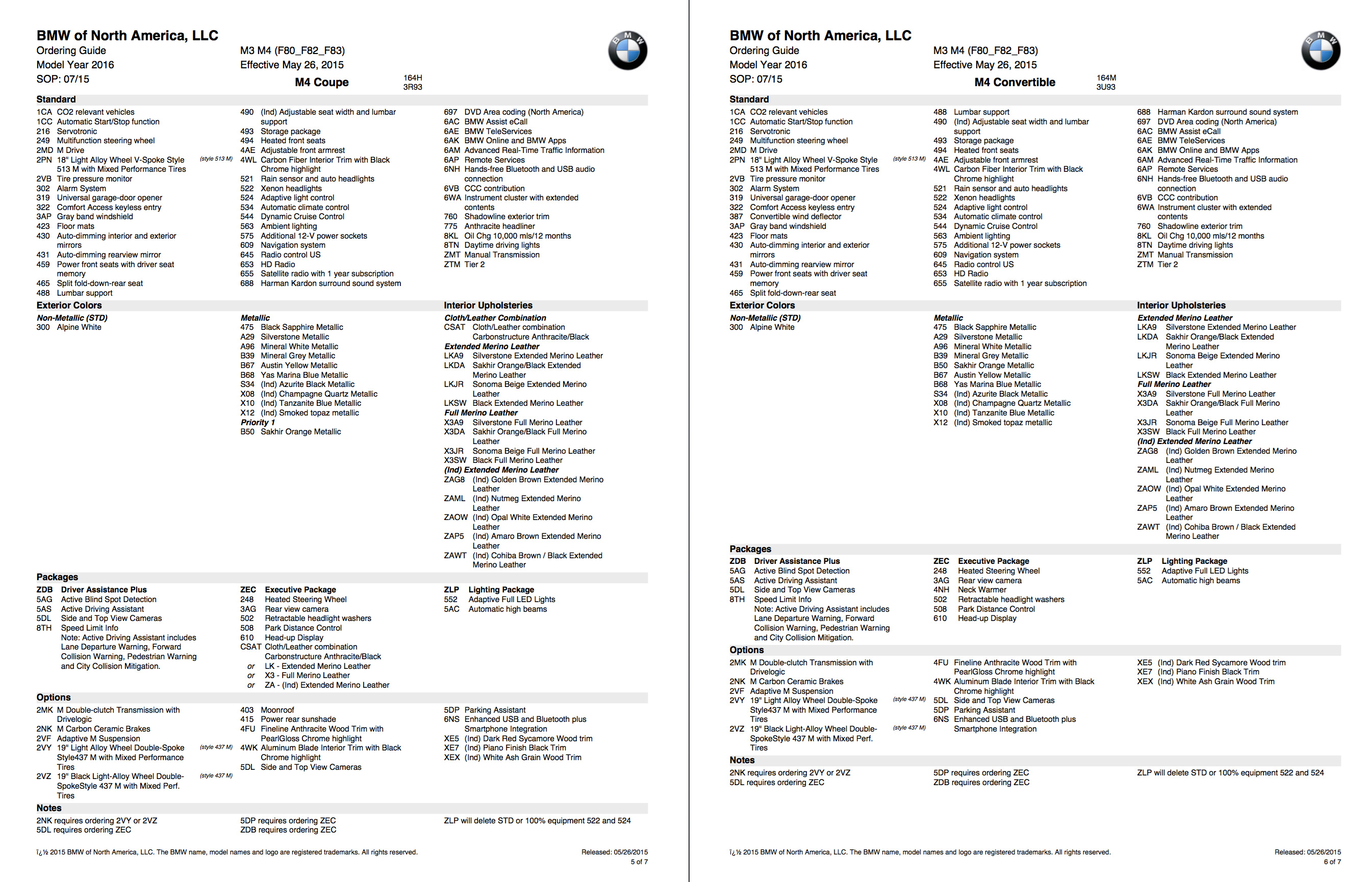 2016 BMW M3 and BMW M4 Ordering Guide Available in US | BMWCoop