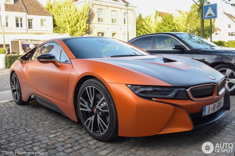 Matte Orange BMW i8 Sits Quietly in Parking Lot