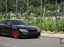 Black Sapphire F82 BMW M4 Looks Astonishing with Red HRE Wheels