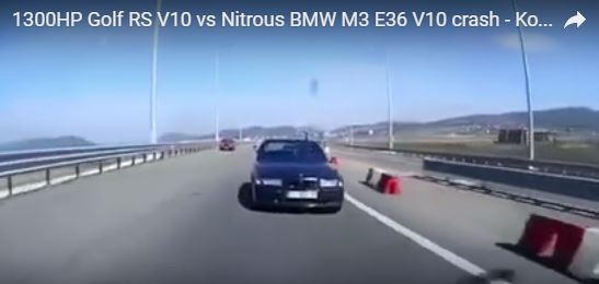 E36 BMW M3 Gets Impressive Wrecking while Attempting to Tackle Much Powerful VW Golf RS V10