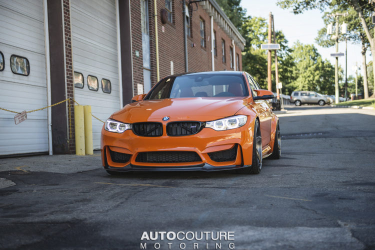 F80 BMW M3 Comes with Fire Orange Wrap and Standout Velos Wheels, Installation by AUTOCouture Motoring