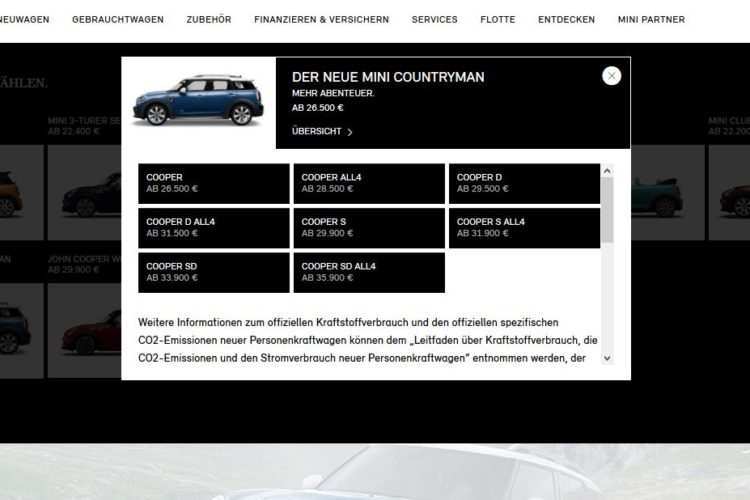 2017 MINI Countryman – Online Configurator Is Now Available in Germany