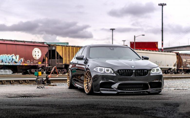 F10 BMW M5 Wrapped in Black Sapphire Metallic on ADV.1 Wheels